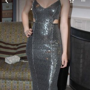 Silver prom gown